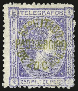 Sale Number 974, Lot Number 843, Philippines1883, 20c on 250m Ultramarine, Green Surcharge (133 var), 1883, 20c on 250m Ultramarine, Green Surcharge (133 var)