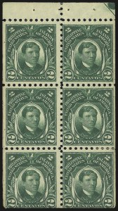 Sale Number 974, Lot Number 855, Philippines1914, 2c Green, Booklet Pane of Six (276a), 1914, 2c Green, Booklet Pane of Six (276a)