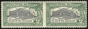 Sale Number 974, Lot Number 859, Philippines1926, 2c Green & Black, Horizontal Pair, Imperforate Between (319a), 1926, 2c Green & Black, Horizontal Pair, Imperforate Between (319a)
