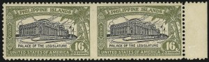 Sale Number 974, Lot Number 860, Philippines1926, 16c Olive Green & Black, Horizontal Pair, Imperforate Between (321a), 1926, 16c Olive Green & Black, Horizontal Pair, Imperforate Between (321a)