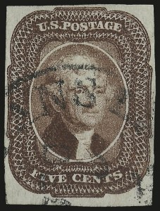 Sale Number 975, Lot Number 1137, 1851-56 Issue (Scott 5-17)5c Red Brown (12), 5c Red Brown (12)