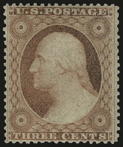 Sale Number 975, Lot Number 1186, 1857-60 Issue (Scott 18-39)3c Dull Red, Ty. III (26). Mint N.H, 3c Dull Red, Ty. III (26). Mint N.H
