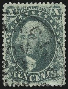 Sale Number 975, Lot Number 1206, 1857-60 Issue (Scott 18-39)10c Green, Ty. III (33), 10c Green, Ty. III (33)