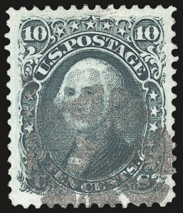"Sale Number 975, Lot Number 1259, 1861-66 Issue (Scott 56-78)10c Yellow Green, ""TAG"" Double Transfer (68 var), 10c Yellow Green, ""TAG"" Double Transfer (68 var)"