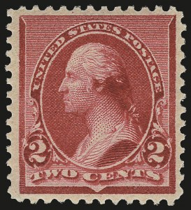"Sale Number 975, Lot Number 1464, 1890-93 Issue (Scott 219-229)2c Carmine, Cap on Left ""2"" (220a), 2c Carmine, Cap on Left ""2"" (220a)"