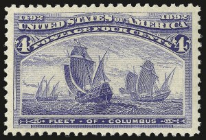 Sale Number 975, Lot Number 1493, 1893 Columbian Issue (1c thru 8c, Scott 230-236)4c Columbian (233), 4c Columbian (233)
