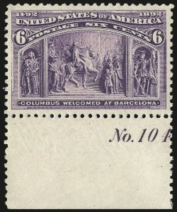 Sale Number 975, Lot Number 1502, 1893 Columbian Issue (1c thru 8c, Scott 230-236)6c Columbian (235), 6c Columbian (235)