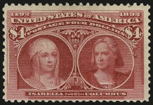 Sale Number 975, Lot Number 1548, 1893 Columbian Issue ($2.00 thru $5.00, Scott 242-245)$4.00 Columbian (244), $4.00 Columbian (244)