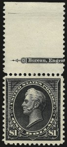 Sale Number 975, Lot Number 1589, 1895 Watermarked Bureau Issue (Scott 264-278)$1.00 Black, Ty. I (276), $1.00 Black, Ty. I (276)