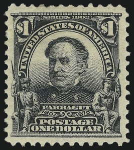 Sale Number 975, Lot Number 1673, 1902-08 Issues (Scott 300-322)$1.00 Black (311), $1.00 Black (311)