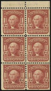 Sale Number 975, Lot Number 1689, 1902-08 Issues (Scott 300-322)2c Carmine, Ty. I, Booklet Pane of Six (319g), 2c Carmine, Ty. I, Booklet Pane of Six (319g)