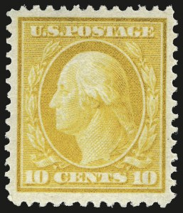 Sale Number 975, Lot Number 1725, 1908-10 Washington-Franklin Issues (Scott 331-356)10c Yellow (338), 10c Yellow (338)