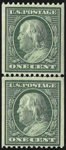 Sale Number 975, Lot Number 1736, 1908-10 Washington-Franklin Issues (Scott 331-356)1c Green, Coil (348), 1c Green, Coil (348)