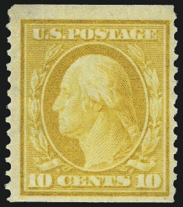 Sale Number 975, Lot Number 1753, 1908-10 Washington-Franklin Issues (Scott 331-356)10c Yellow, Coil (356), 10c Yellow, Coil (356)