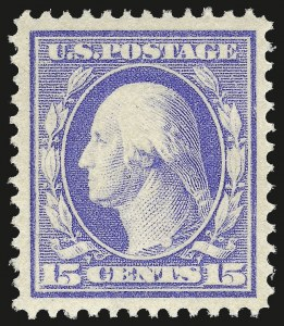 Sale Number 975, Lot Number 1770, 1910-13 Washington-Franklin Issue (Scott 374-396)15c Pale Ultramarine (382), 15c Pale Ultramarine (382)