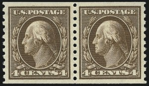 Sale Number 975, Lot Number 1873, 1913-15 Washington-Franklin Issues (Scott 424-460)4c Brown, Coil (446), 4c Brown, Coil (446)