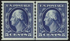 Sale Number 975, Lot Number 1877, 1913-15 Washington-Franklin Issues (Scott 424-460)5c Blue, Coil (447), 5c Blue, Coil (447)
