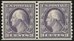 Sale Number 975, Lot Number 1882, 1913-15 Washington-Franklin Issues (Scott 424-460)3c Violet, Coil (456), 3c Violet, Coil (456)