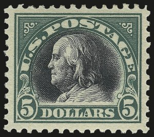 Sale Number 975, Lot Number 1942, 1917-19 Issues (Scott 481-524)$5.00 Deep Green & Black (524), $5.00 Deep Green & Black (524)
