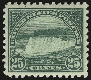 "Sale Number 975, Lot Number 1983, 1922-29 Issues (Scott 551-573)25c Yellow Green, ""Bridge Over Falls"" Plate Scratches (568 var), 25c Yellow Green, ""Bridge Over Falls"" Plate Scratches (568 var)"