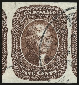 Sale Number 976, Lot Number 1156, 5c-12c 1851-56 Issue (Scott 12-17)5c Red Brown (12), 5c Red Brown (12)