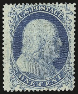 Sale Number 976, Lot Number 1197, 1c-3c 1857-60 Issue (Scott 18-26A)1c Blue, Ty. I (18), 1c Blue, Ty. I (18)
