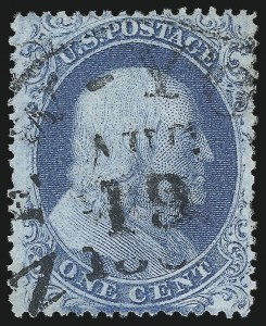 Sale Number 976, Lot Number 1199, 1c-3c 1857-60 Issue (Scott 18-26A)1c Blue, Ty. I (18), 1c Blue, Ty. I (18)