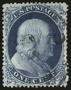 Sale Number 976, Lot Number 1204, 1c-3c 1857-60 Issue (Scott 18-26A)1c Blue, Ty. IIIa (22), 1c Blue, Ty. IIIa (22)
