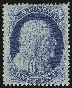 Sale Number 976, Lot Number 1208, 1c-3c 1857-60 Issue (Scott 18-26A)1c Blue, Ty. V (24). Mint N.H, 1c Blue, Ty. V (24). Mint N.H