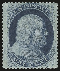 Sale Number 976, Lot Number 1209, 1c-3c 1857-60 Issue (Scott 18-26A)1c Blue, Ty. V (24). Mint N.H, 1c Blue, Ty. V (24). Mint N.H