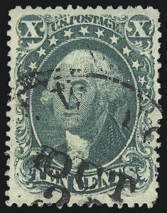 Sale Number 976, Lot Number 1240, 10c-90c 1857-60 Issue (Scott 31-39)10c Green, Ty. I (31), 10c Green, Ty. I (31)