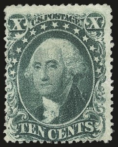 Sale Number 976, Lot Number 1242, 10c-90c 1857-60 Issue (Scott 31-39)10c Green, Ty. I (31), 10c Green, Ty. I (31)