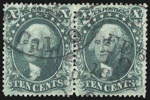 Sale Number 976, Lot Number 1249, 10c-90c 1857-60 Issue (Scott 31-39)10c Green, Ty. III (33), 10c Green, Ty. III (33)