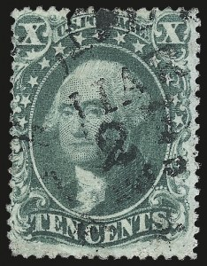 Sale Number 976, Lot Number 1254, 10c-90c 1857-60 Issue (Scott 31-39)10c Green, Ty. IV (34), 10c Green, Ty. IV (34)