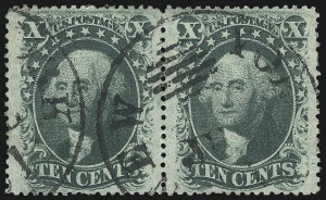 Sale Number 976, Lot Number 1257, 10c-90c 1857-60 Issue (Scott 31-39)10c Green, Ty. V (35), 10c Green, Ty. V (35)