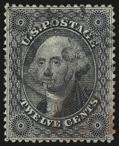 Sale Number 976, Lot Number 1259, 10c-90c 1857-60 Issue (Scott 31-39)12c Black, Plate 1 (36), 12c Black, Plate 1 (36)