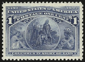 Sale Number 976, Lot Number 1665, 1893 Columbian Issue (1c thru 8c, Scott 230-236)1c Columbian (230), 1c Columbian (230)