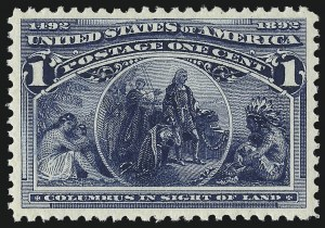 Sale Number 976, Lot Number 1666, 1893 Columbian Issue (1c thru 8c, Scott 230-236)1c Columbian (230), 1c Columbian (230)