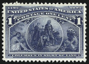 Sale Number 976, Lot Number 1668, 1893 Columbian Issue (1c thru 8c, Scott 230-236)1c Columbian (230), 1c Columbian (230)