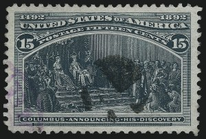 Sale Number 976, Lot Number 1687, 1893 Columbian Issue (10c thru $1.00, Scott 237-241)15c Columbian (238), 15c Columbian (238)
