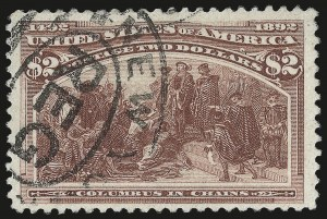 Sale Number 976, Lot Number 1706, 1893 Columbian Issue ($2.00 thru $5.00, Scott 242-245)$2.00 Columbian (242), $2.00 Columbian (242)