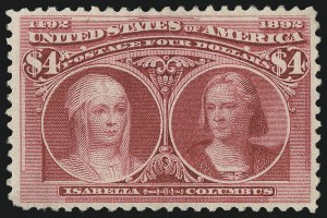 Sale Number 976, Lot Number 1714, 1893 Columbian Issue ($2.00 thru $5.00, Scott 242-245)$4.00 Columbian (244), $4.00 Columbian (244)