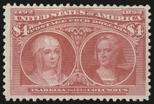 Sale Number 976, Lot Number 1715, 1893 Columbian Issue ($2.00 thru $5.00, Scott 242-245)$4.00 Rose Carmine, Columbian (244a), $4.00 Rose Carmine, Columbian (244a)