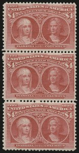 Sale Number 976, Lot Number 1716, 1893 Columbian Issue ($2.00 thru $5.00, Scott 242-245)$4.00 Rose Carmine, Columbian (244a), $4.00 Rose Carmine, Columbian (244a)