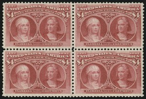 Sale Number 976, Lot Number 1717, 1893 Columbian Issue ($2.00 thru $5.00, Scott 242-245)$4.00 Columbian (244), $4.00 Columbian (244)