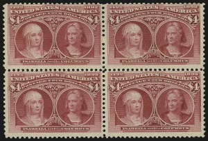 Sale Number 976, Lot Number 1718, 1893 Columbian Issue ($2.00 thru $5.00, Scott 242-245)$4.00 Columbian (244), $4.00 Columbian (244)