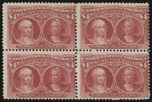 Sale Number 976, Lot Number 1719, 1893 Columbian Issue ($2.00 thru $5.00, Scott 242-245)$4.00 Columbian (244), $4.00 Columbian (244)