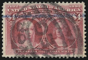 Sale Number 976, Lot Number 1720, 1893 Columbian Issue ($2.00 thru $5.00, Scott 242-245)$4.00 Columbian (244), $4.00 Columbian (244)