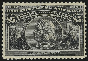 Sale Number 976, Lot Number 1721, 1893 Columbian Issue ($2.00 thru $5.00, Scott 242-245)$5.00 Columbian (245), $5.00 Columbian (245)