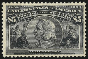 Sale Number 976, Lot Number 1722, 1893 Columbian Issue ($2.00 thru $5.00, Scott 242-245)$5.00 Columbian (245), $5.00 Columbian (245)